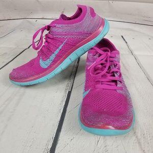 huge discount b8a44 f4a1a Nike. NIKE Free 4.0 Flyknit fuschia blue running shoes.  65  120. Size  8 ·  Nike